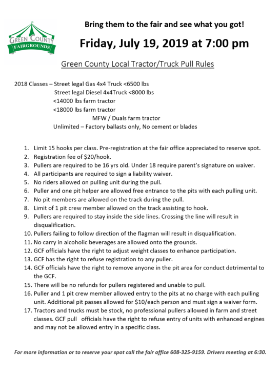 Local Tractor Pull Rules